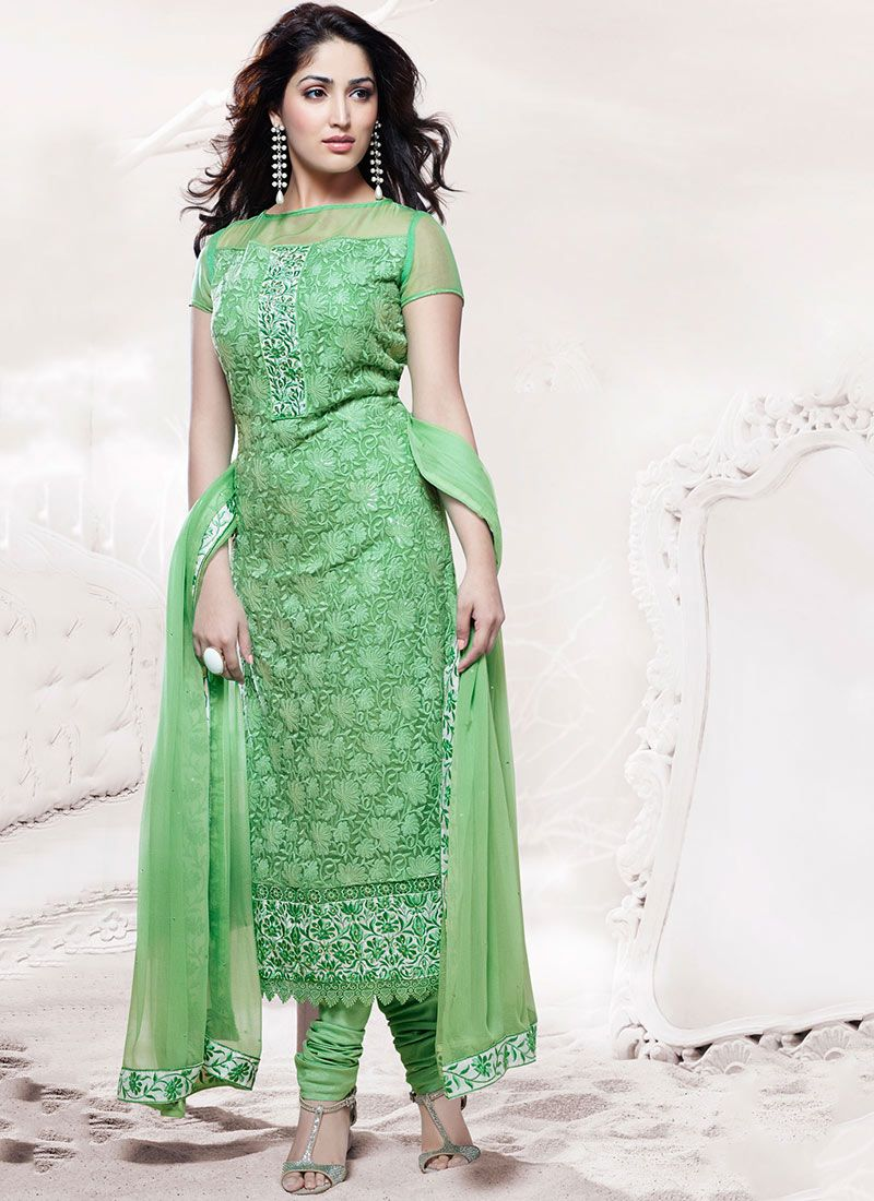 Feb Green Embroidered Work Stylish Churidar Suit