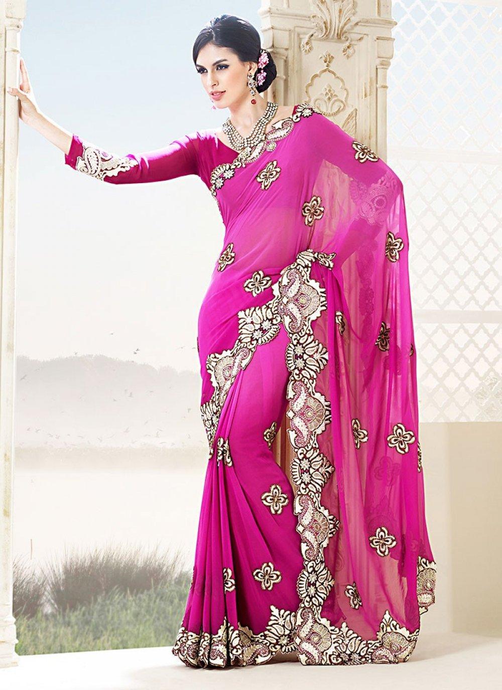 Feb Pink Zari Work Bamber Designer Saree