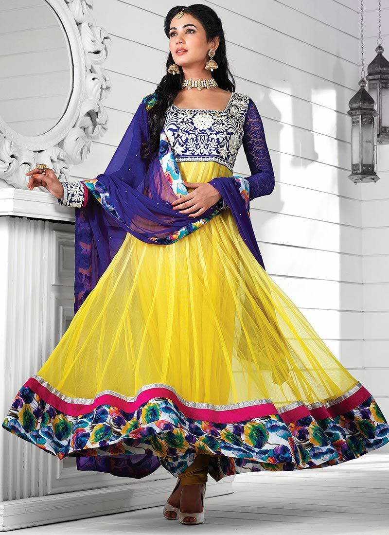Feb Yellow Embroidered Work Net Anarkali Suit