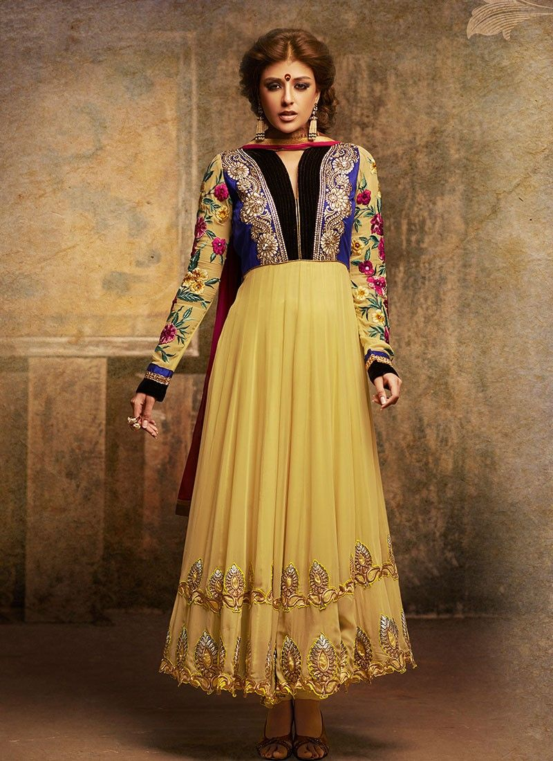 Feb Yellow Georgette Anarkali Suit