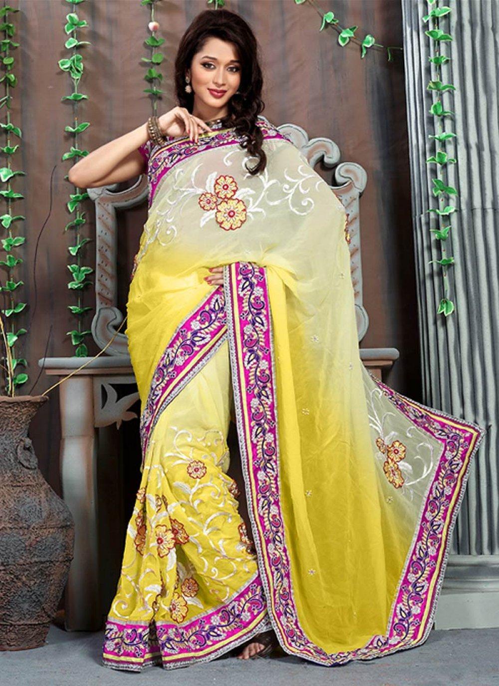 Feb Yellow Net Stylish Saree