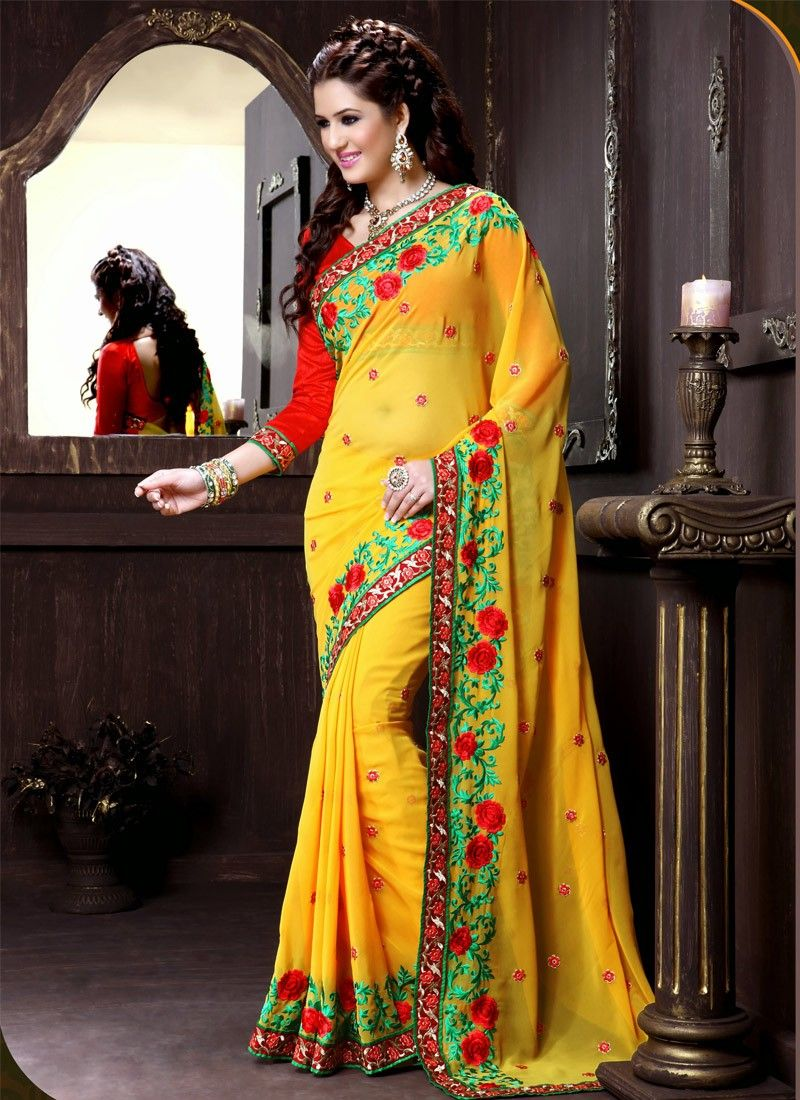 Feb Yellow Viscose Patch Border Work Saree