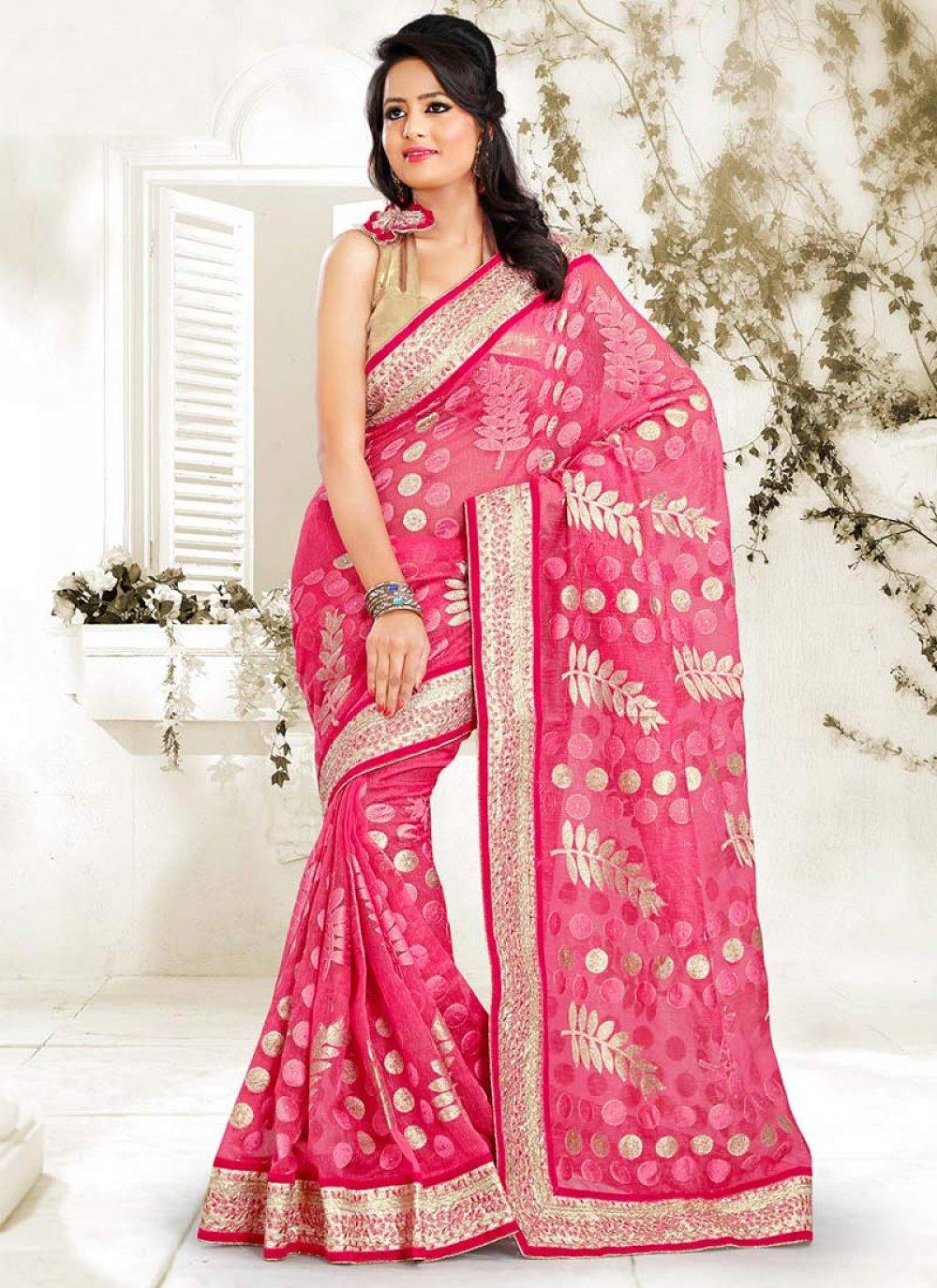 Feminine Pink Net Designer Saree