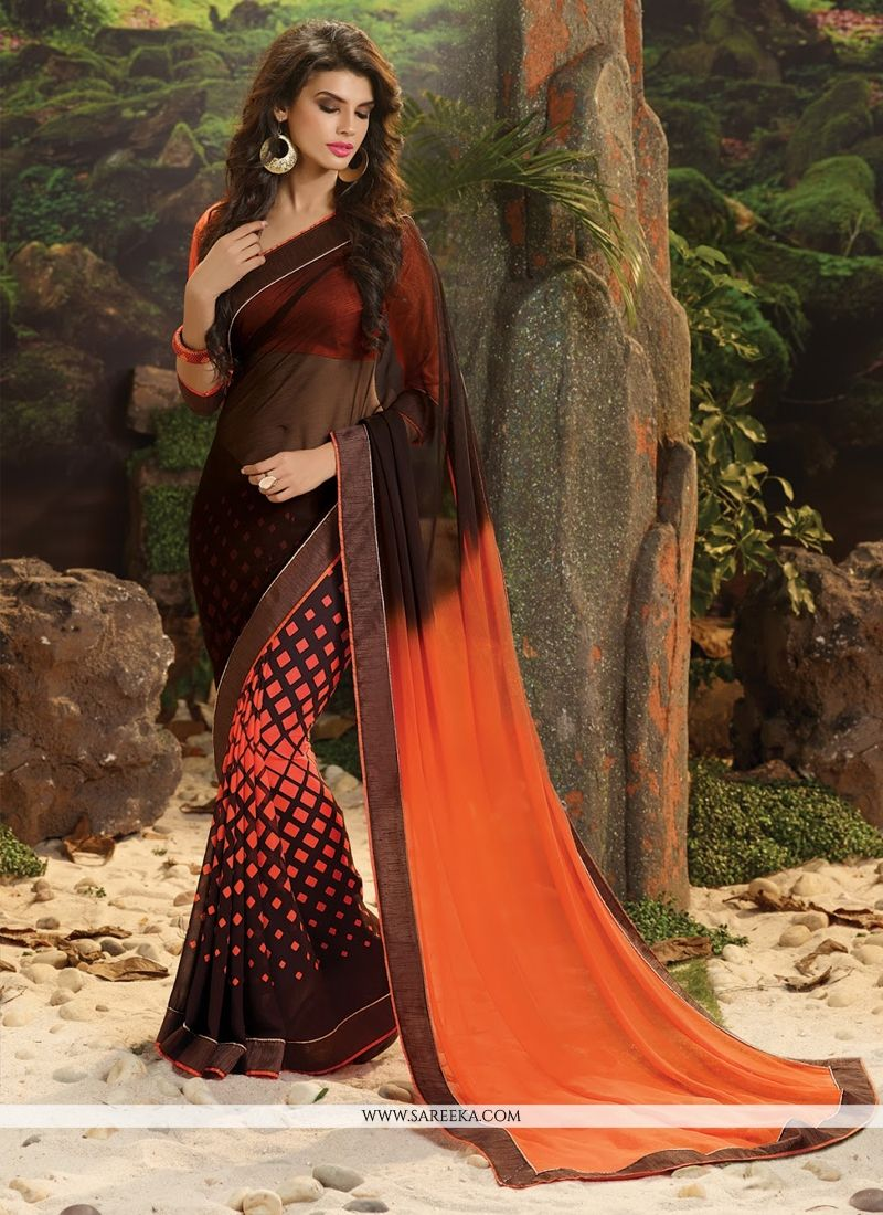 Orange and Brown Weight Less Casual Saree