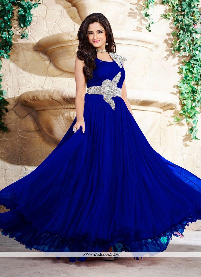 Satin Blue Designer Gown - Gown