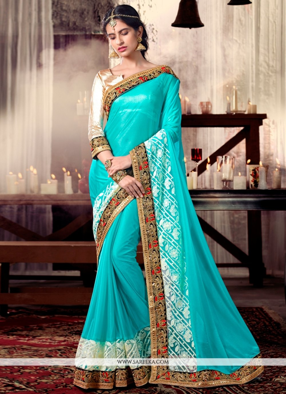 Turquoise Embroidered Work Designer Saree