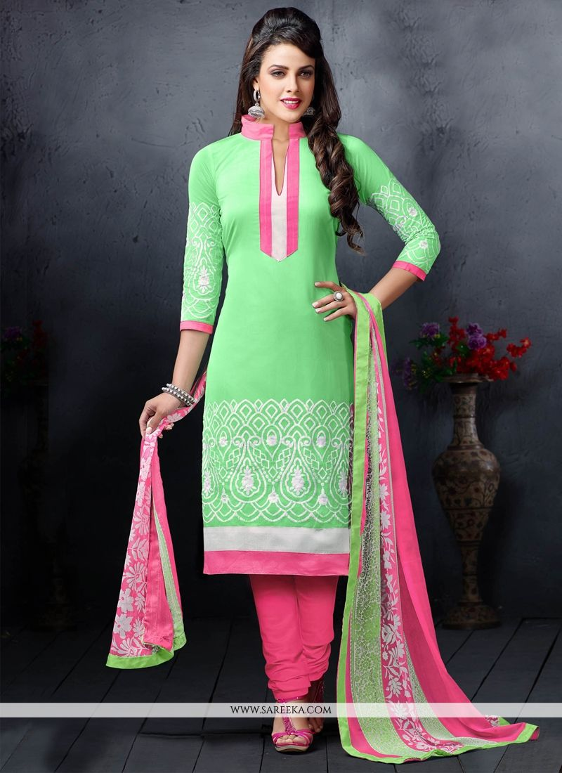 Chanderi Cotton Green Embroidered Work Churidar Salwar Suit