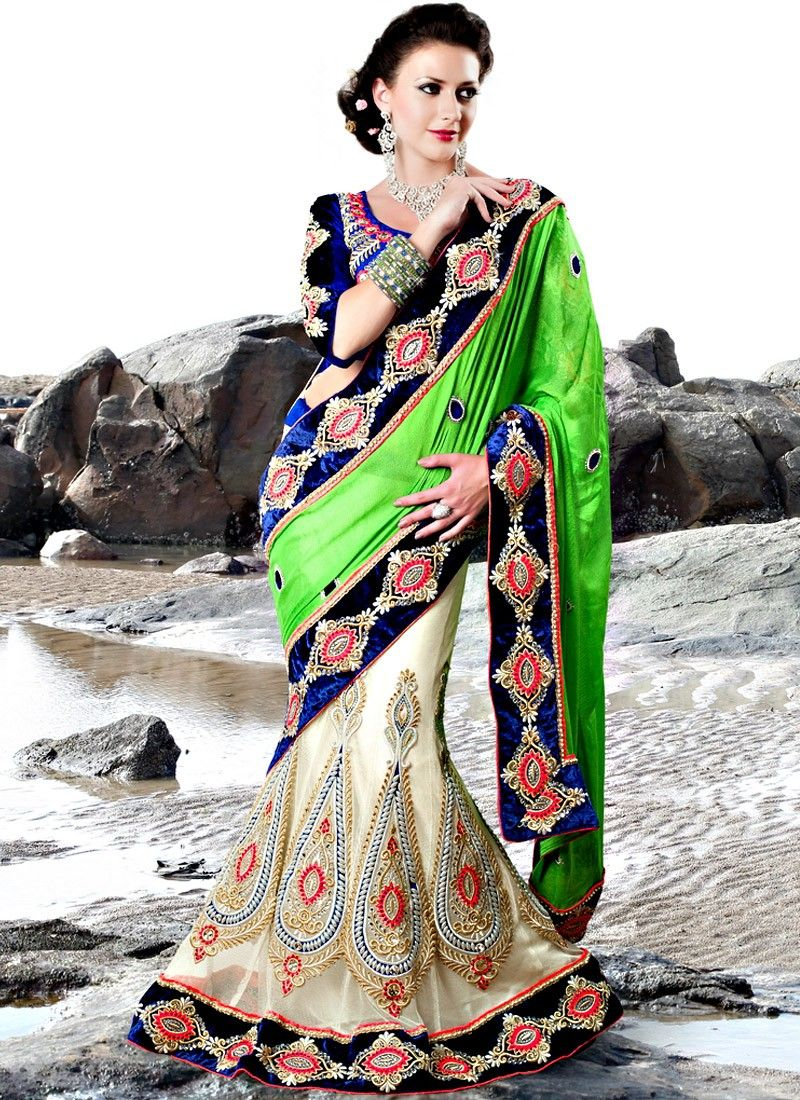 Cream And Green Chiffon Embroidered Lehenga Saree