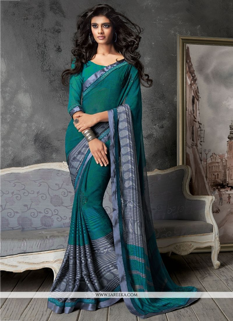 Georgette Teal Print Work Contemporary Saree