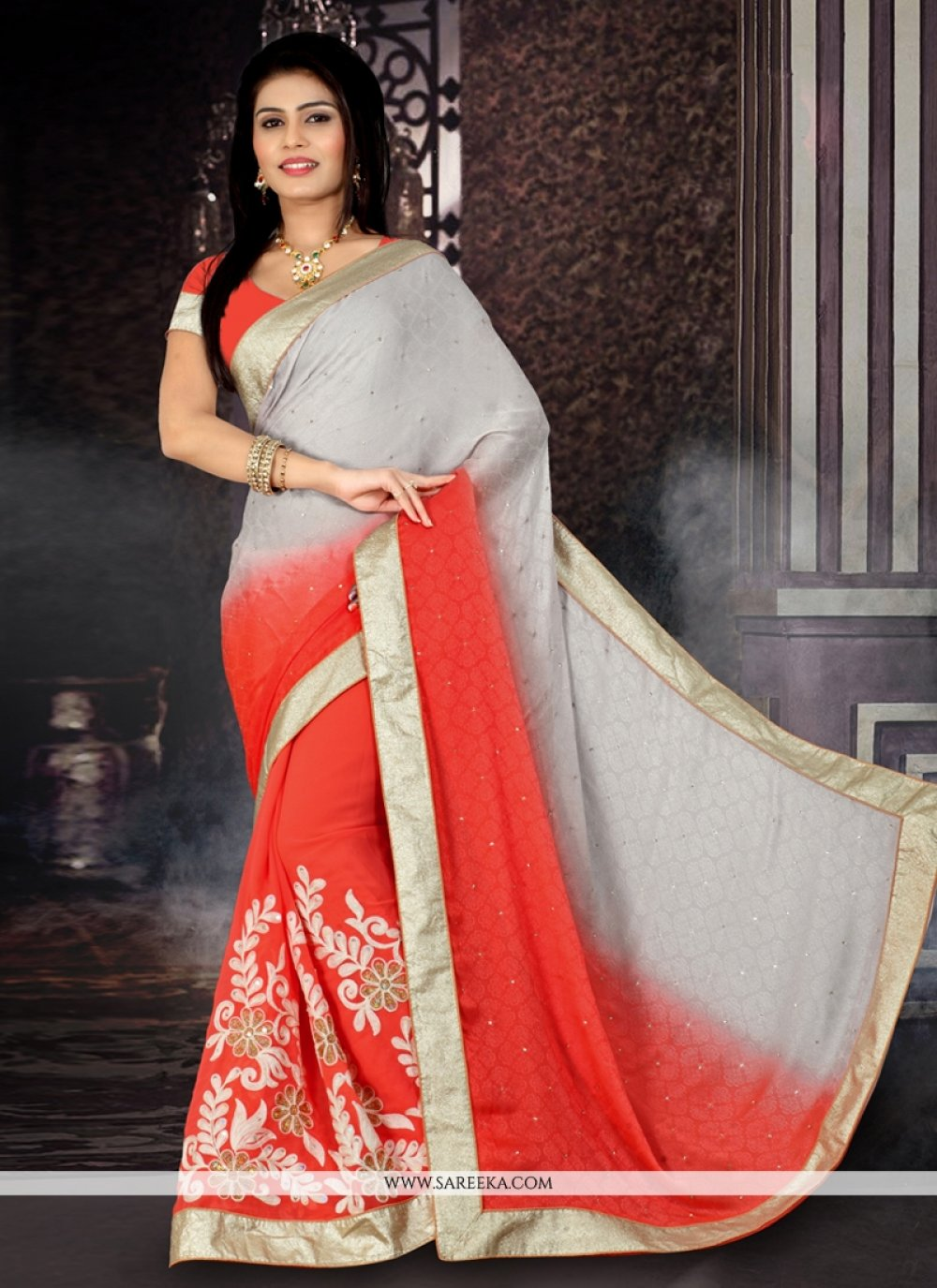 Jacquard Orange Designer Saree