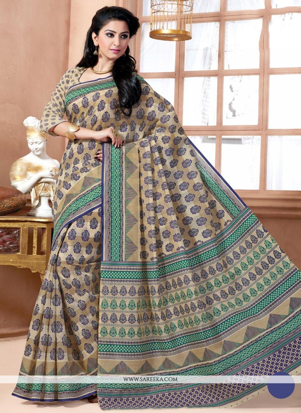 Multi Colour Print Work Cotton   Casual Saree
