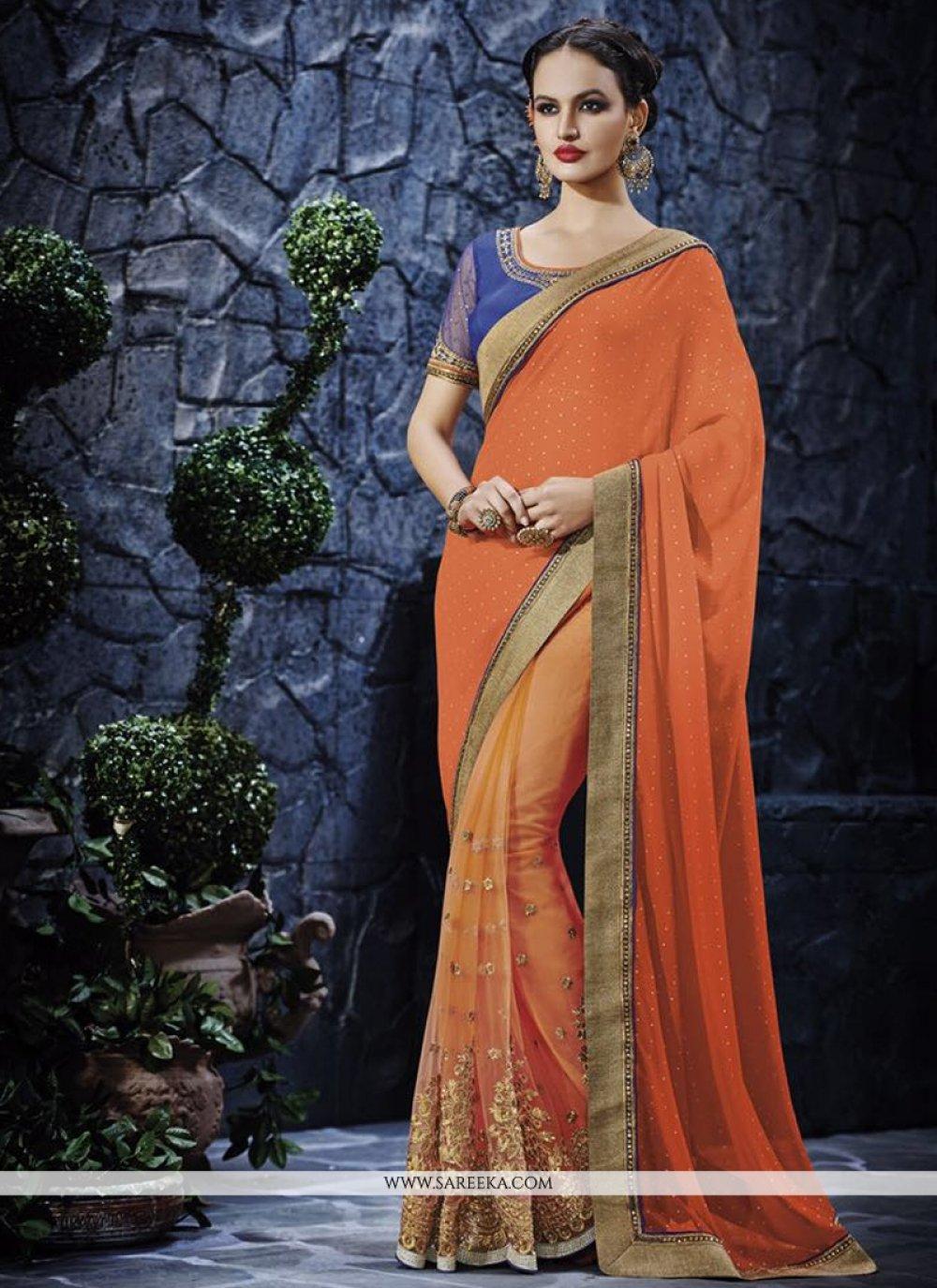 Orange Patch Border Work Designer Saree