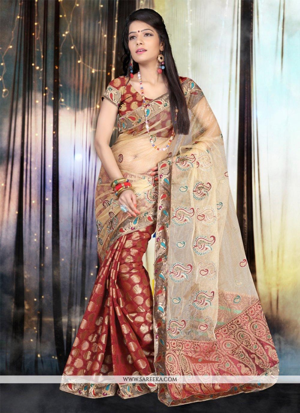 Patch Border Work Chanderi Cotton Designer Saree