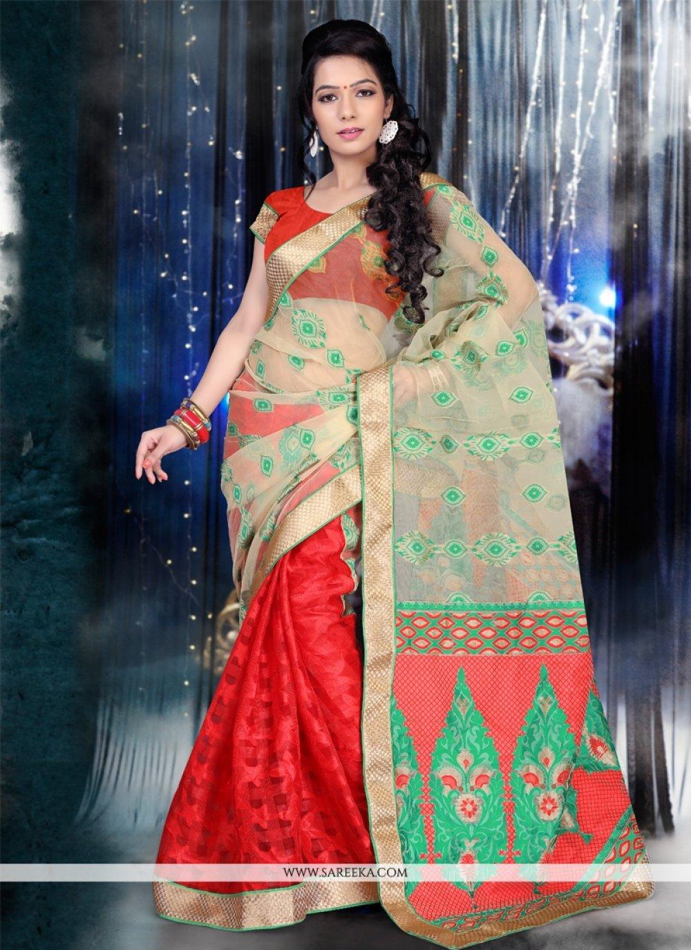 Patch Border Work Red Jacquard Designer Saree