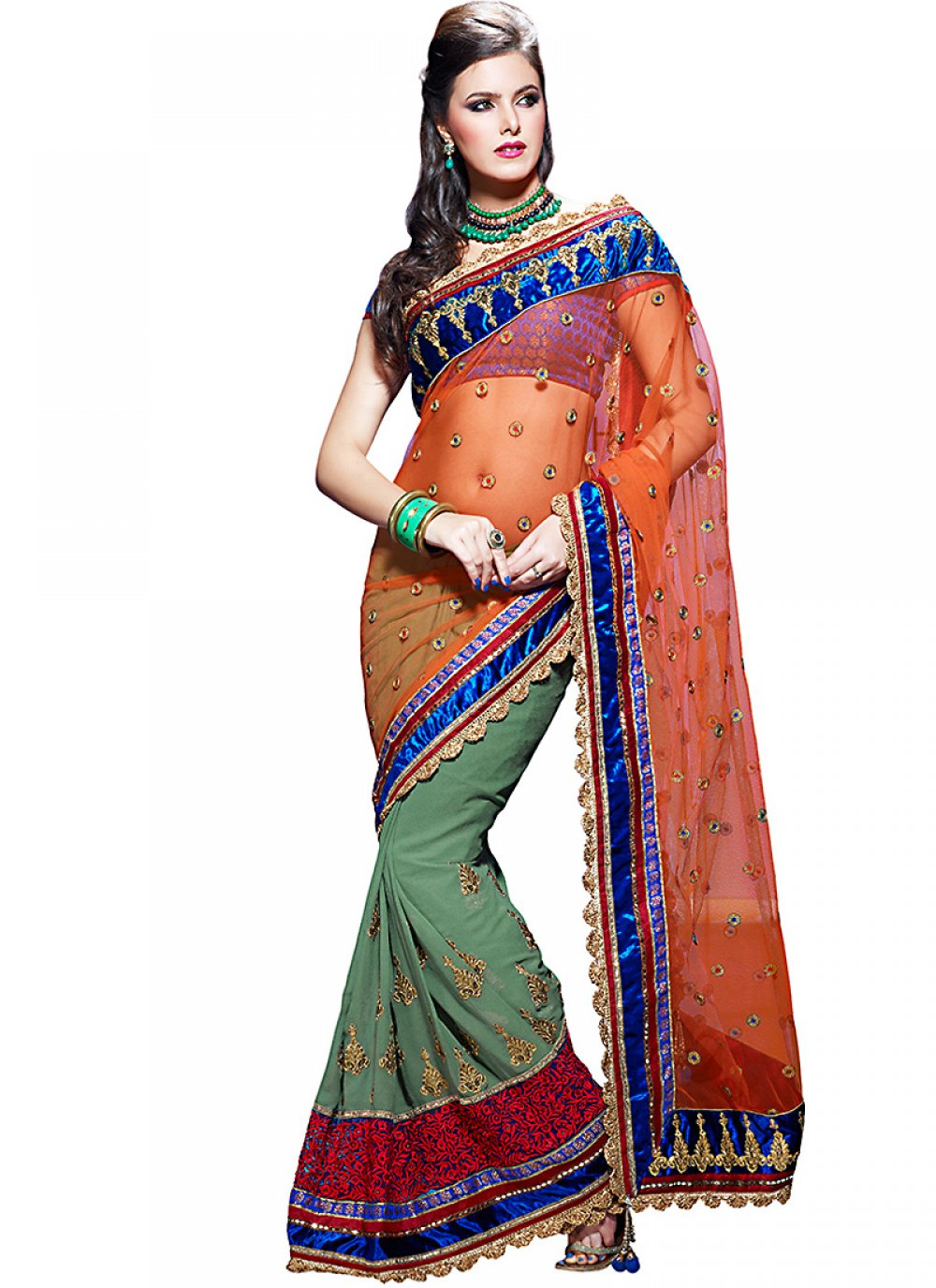 Apricot & Pale Sea Green Embroidered Saree