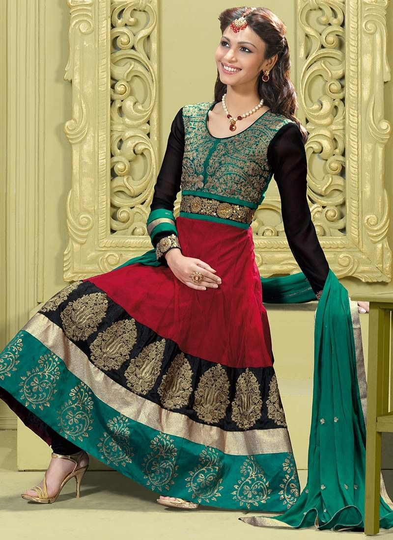 Bick Red, Black & Geenish Blue Salwar Kameez