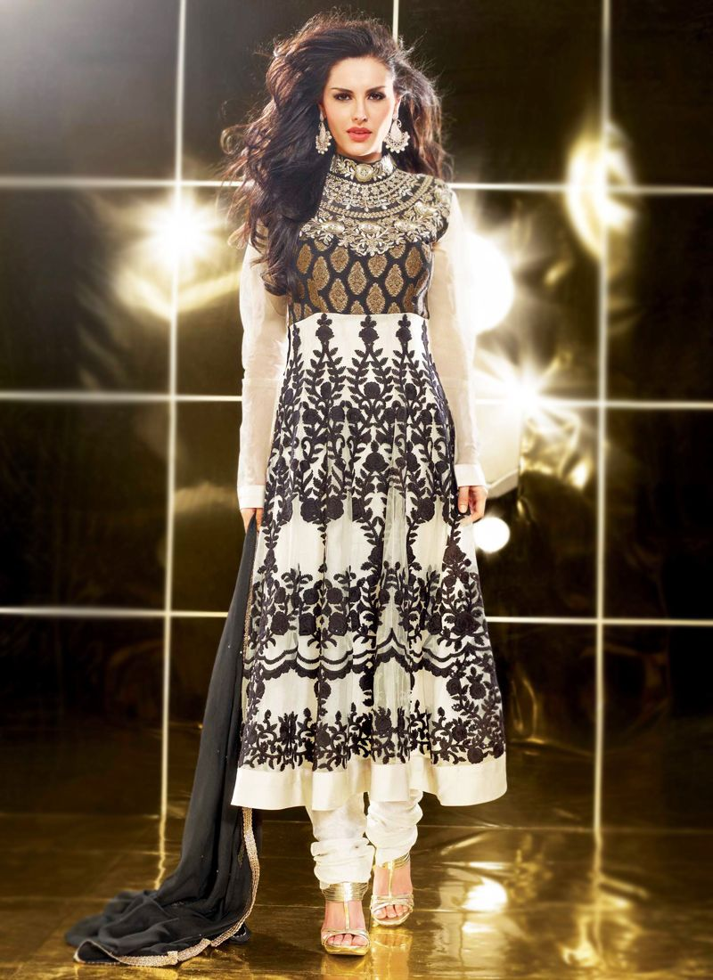 Bige Brown & Black Anarkali Suit