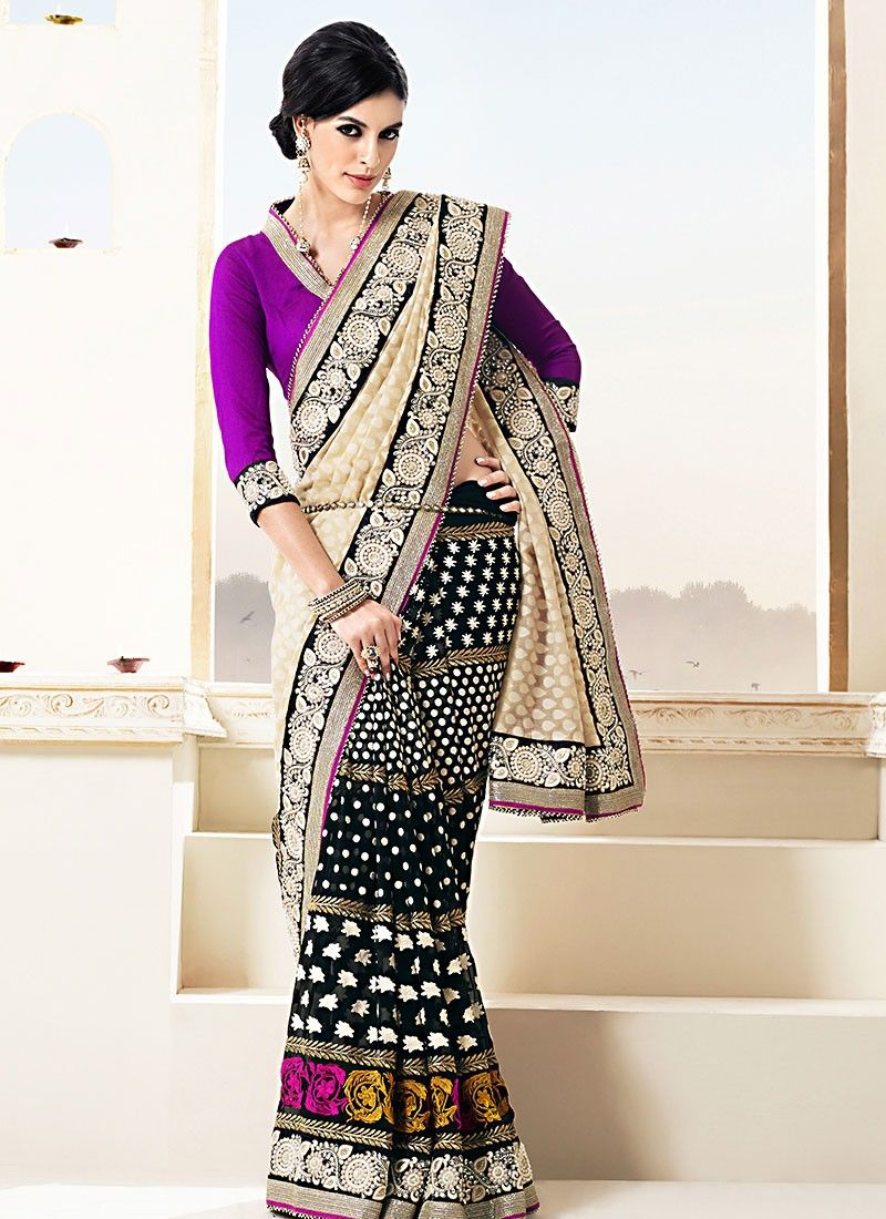 Black Banarasi Stone Work Half And Half Saree