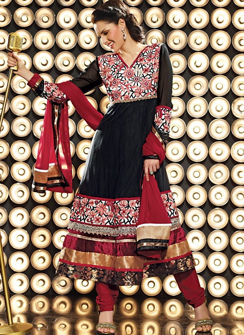 Deep Crimson & Black Anarkali