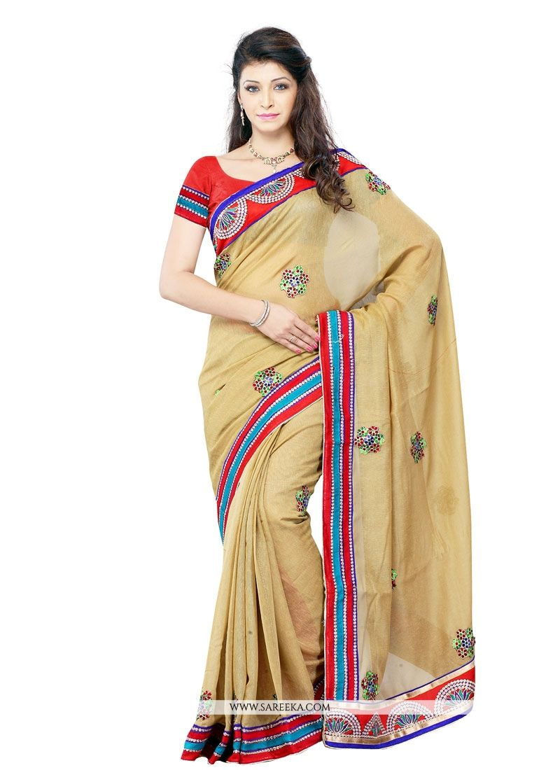 Embroidered Work Beige Art Silk Designer Saree