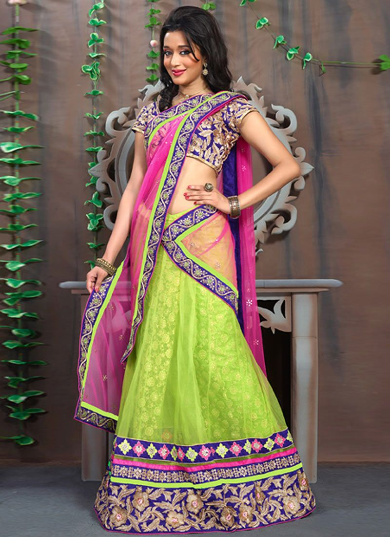 Green And Pink Net Stylish Lehenga Saree