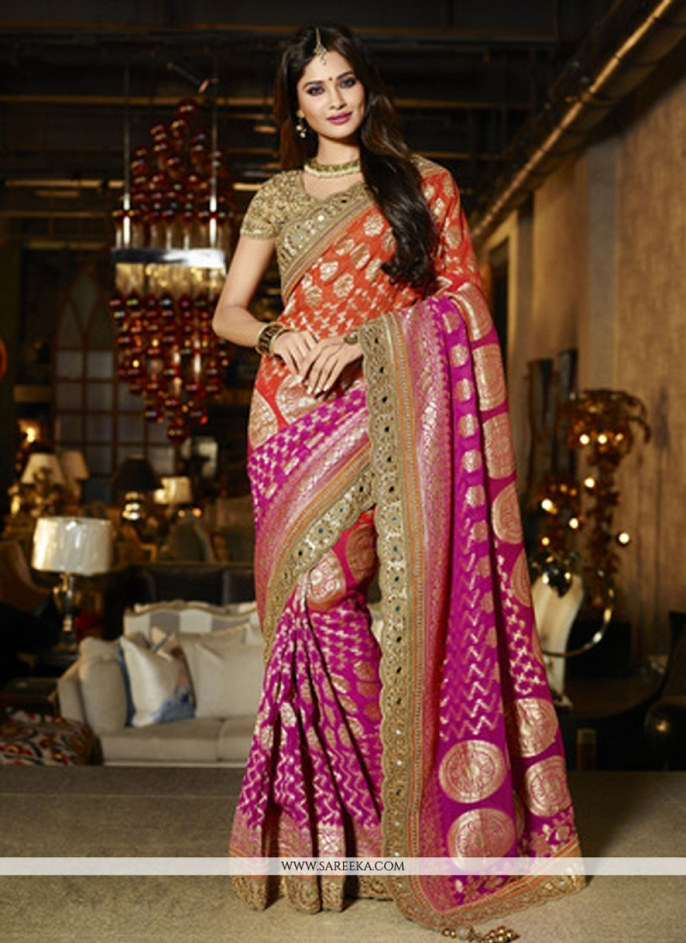Hot Pink Viscose Designer Saree