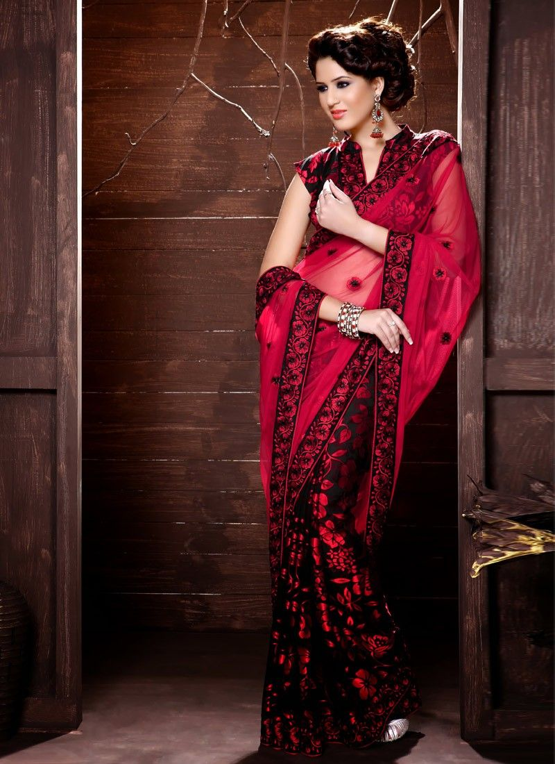 Red And Black Net Half And Half Saree