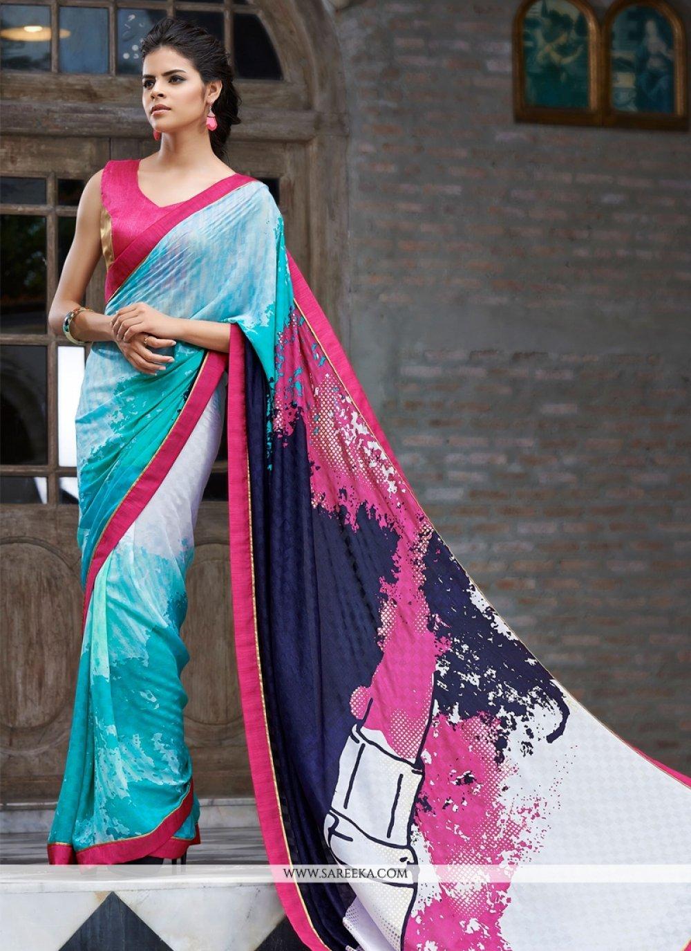 Shimmer Georgette Multi Colour Casual Saree