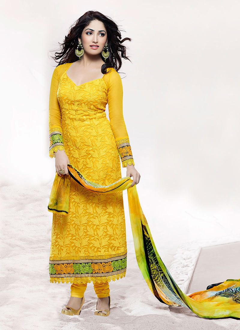 Yellow Cut Work Stylish Churidar Suit