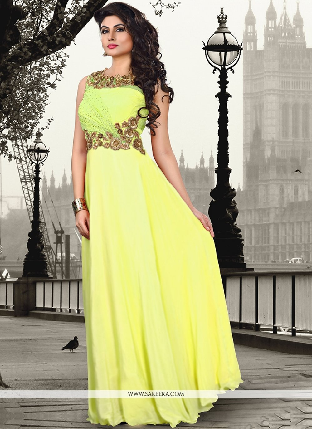 Yellow Pure Crepe Floor Length Gown
