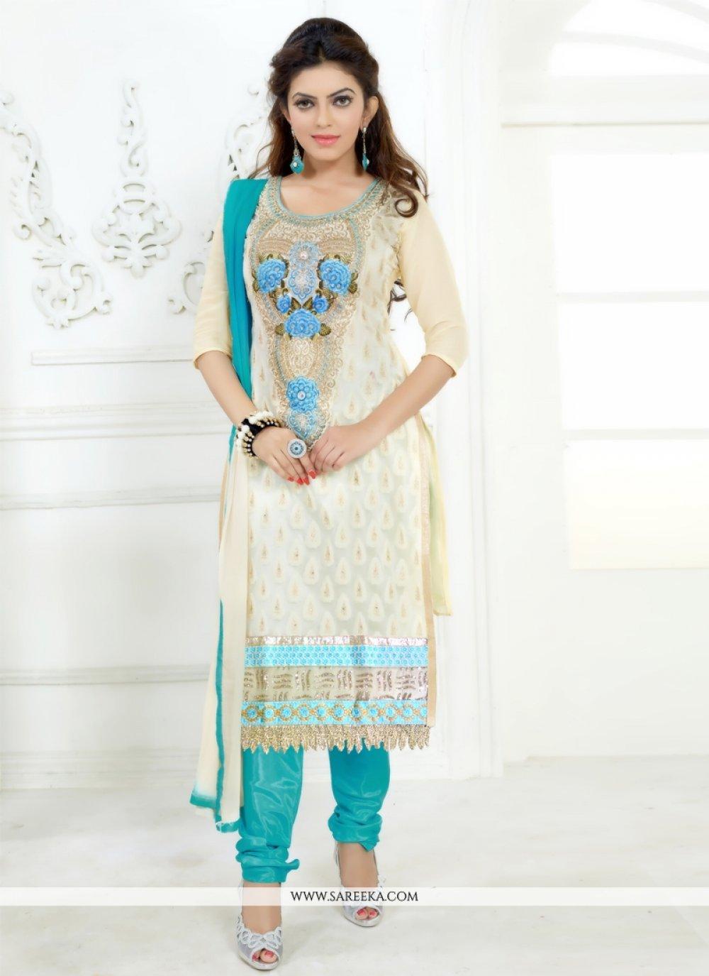 Chanderi Cotton Cream Churidar Salwar Kameez