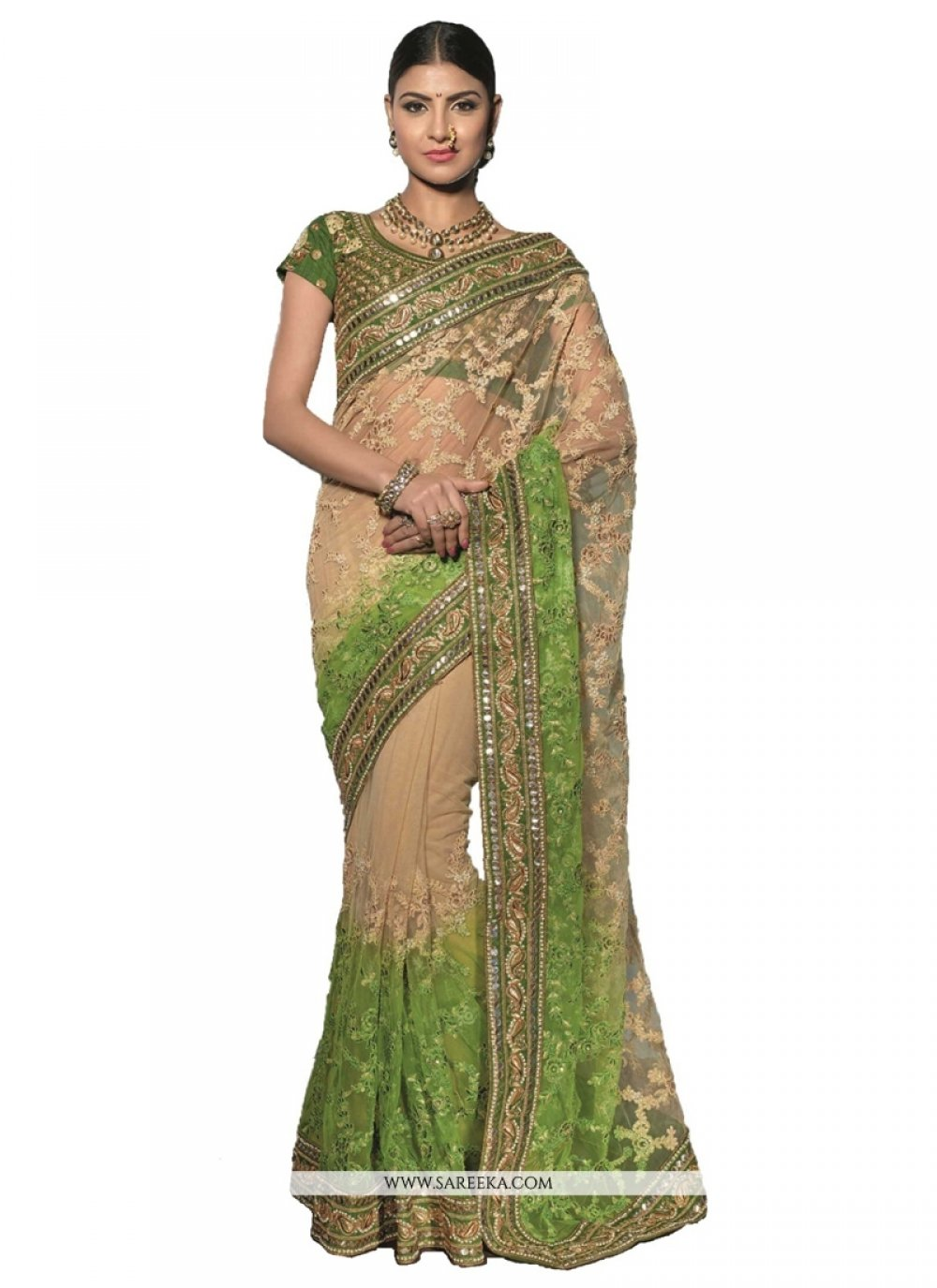 Embroidered Work Net Designer Saree