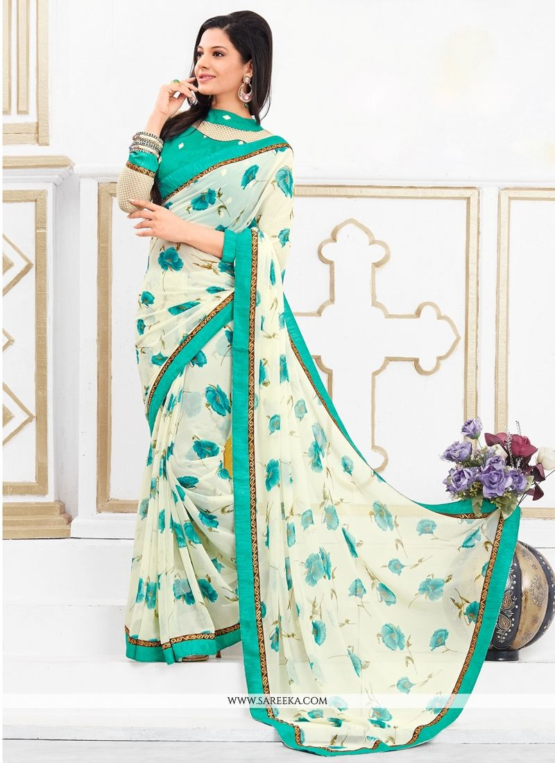 Georgette White Casual Saree