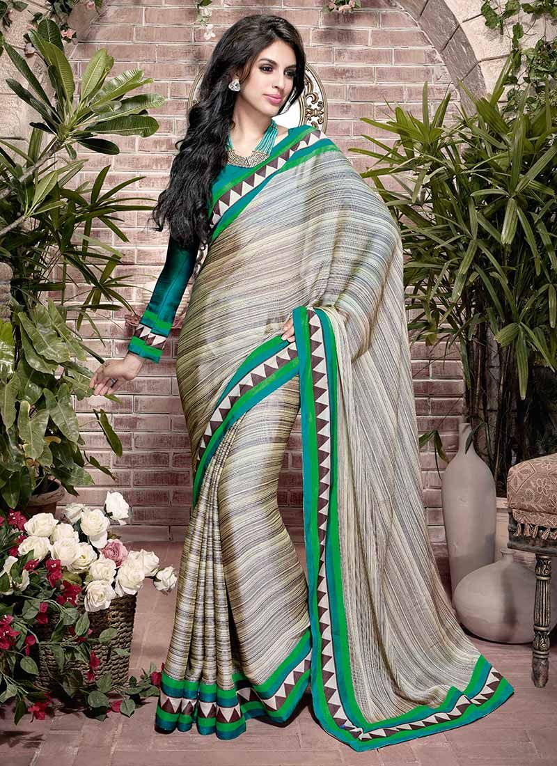 Grey Printed Art Silk Saree