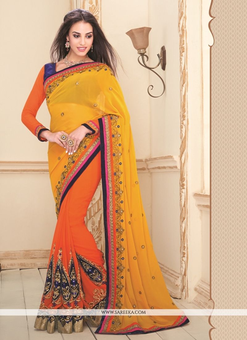 Mustard and Orange Resham Work Designer Saree