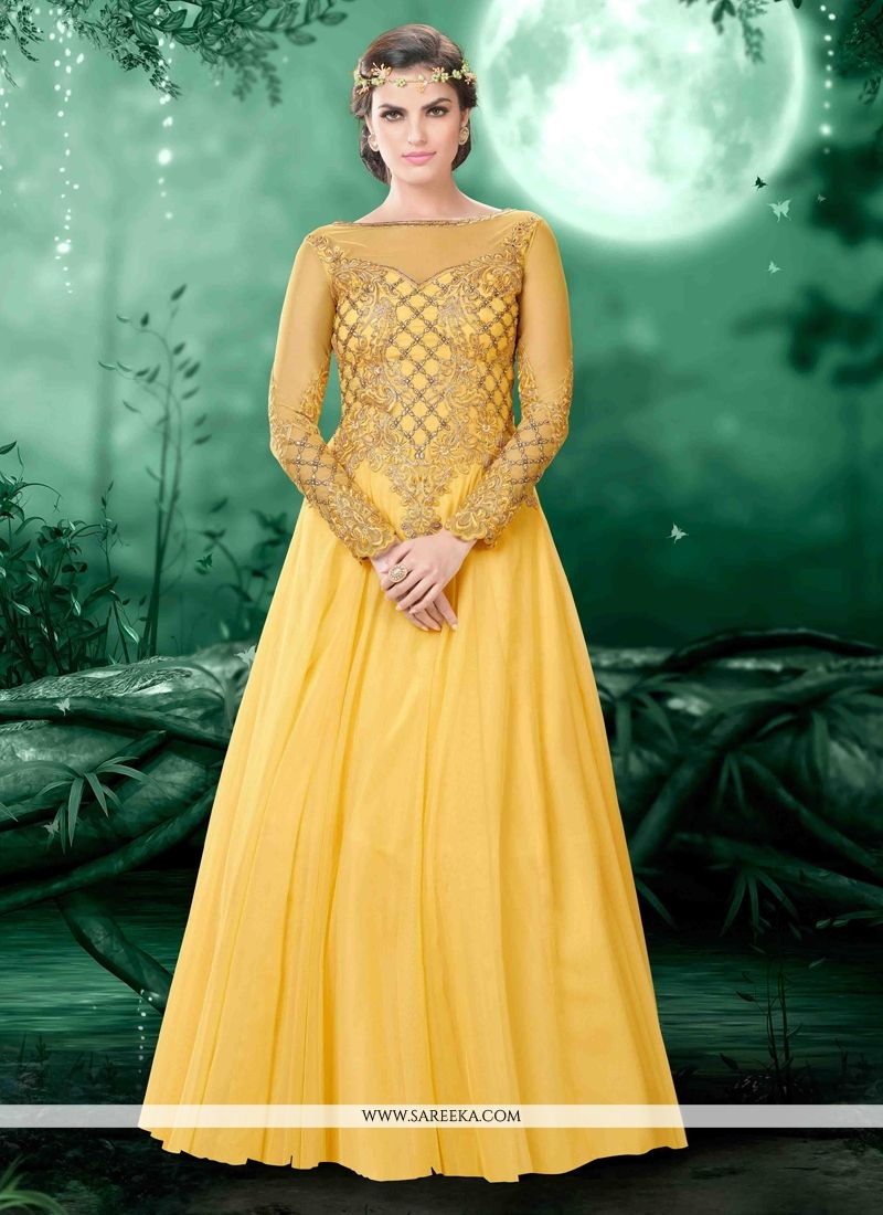 Yellow Resham Work Net Designer Ankle Length Anarkali Suit