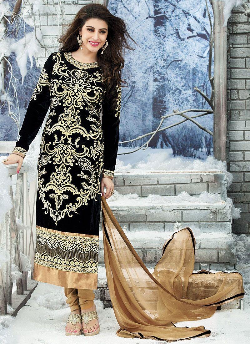 Black Velvet Churidar Salwar Kameez