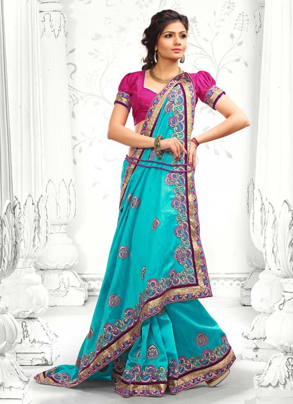 Blue Stone Work Designer Saree