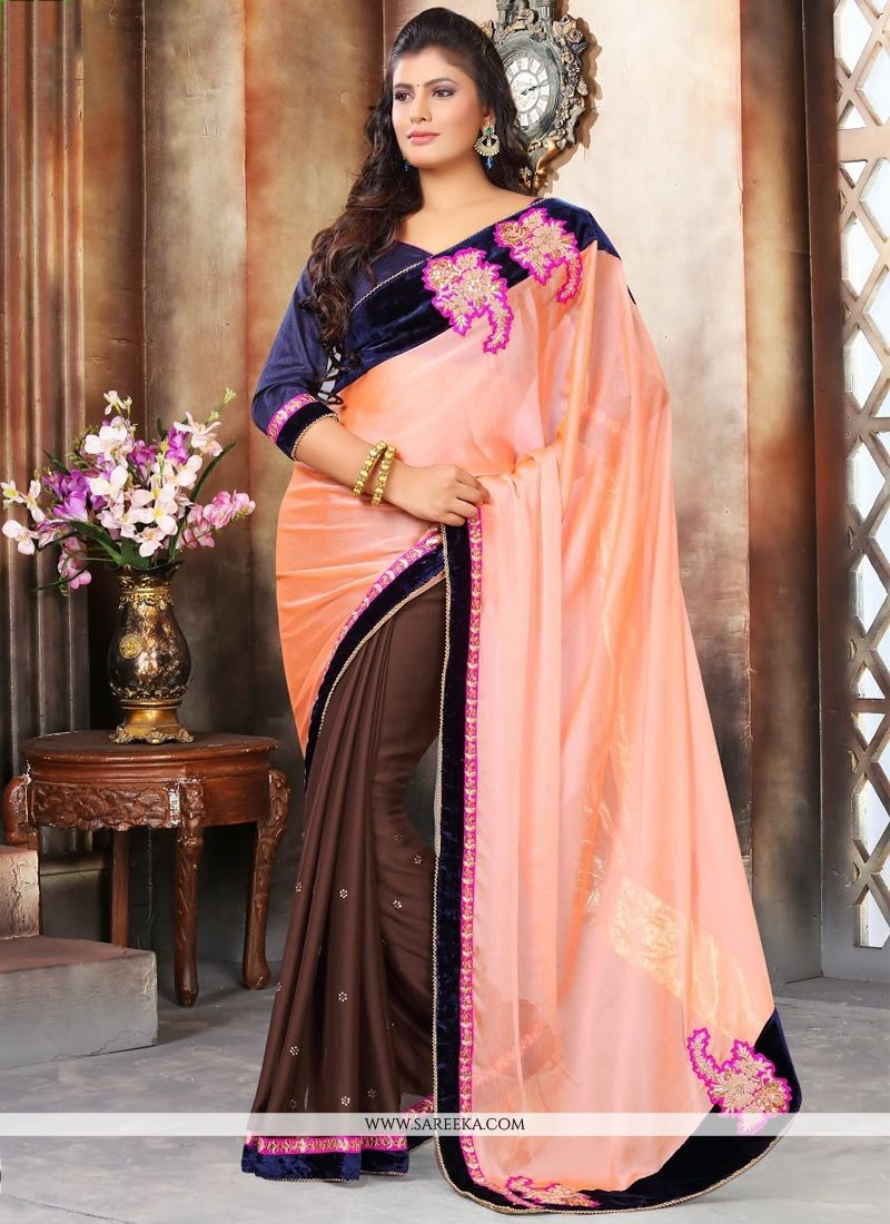 Embroidered Work Brown and Peach Designer Saree