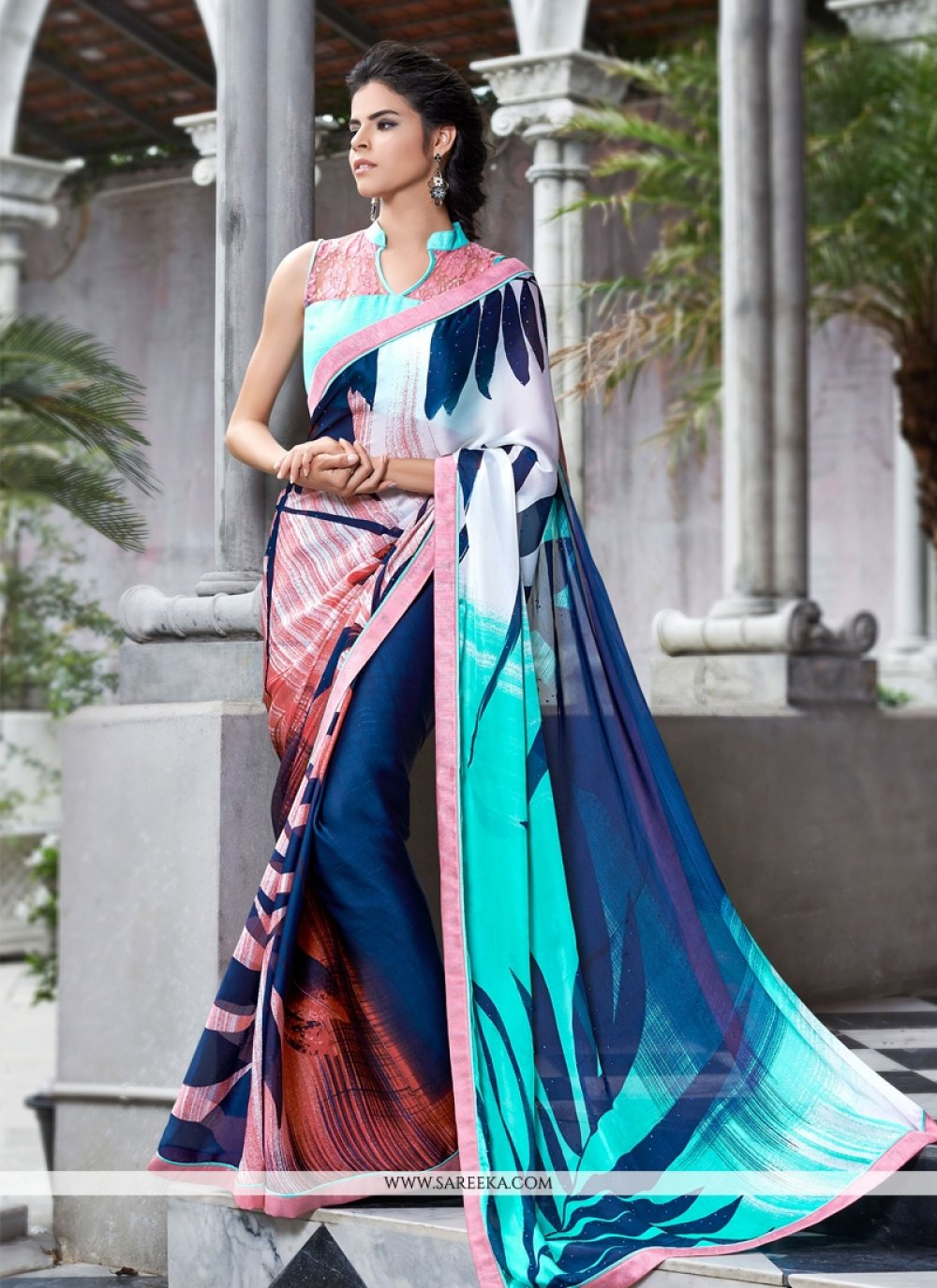 Multi Colour Satin Casual Saree