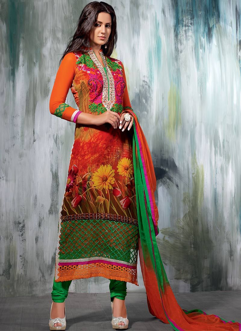 Orange Georgette Churidar Suit