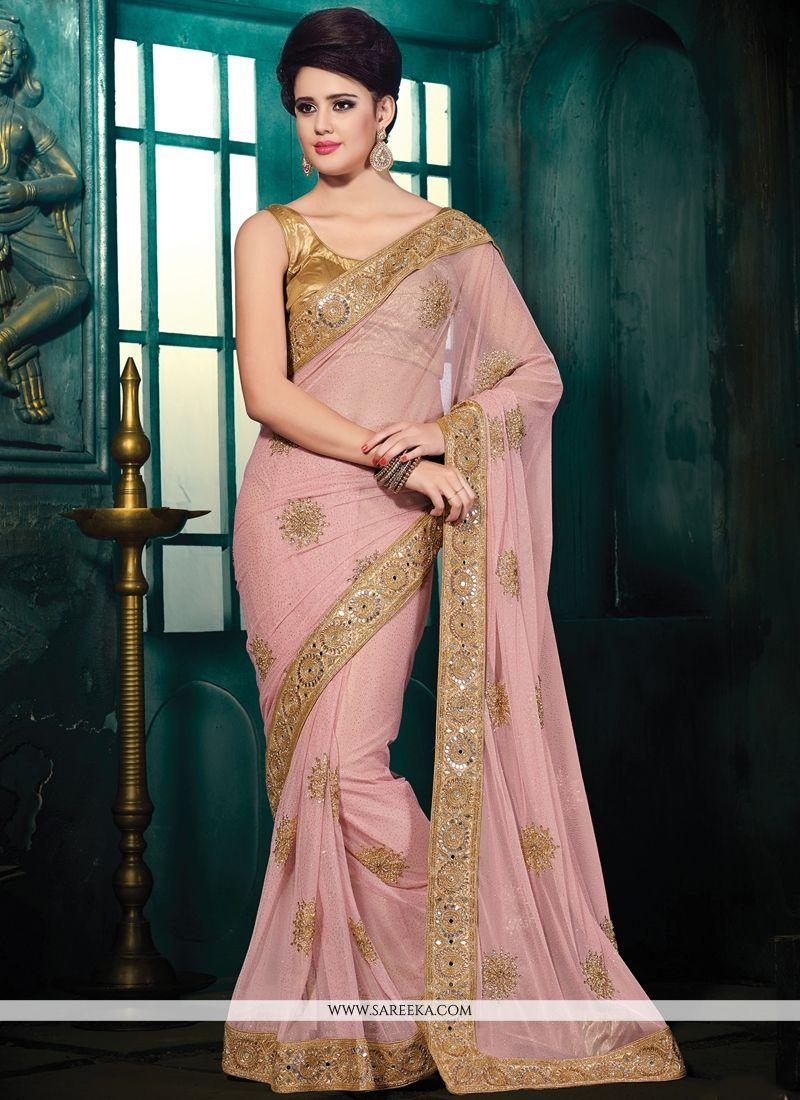 Pink Patch Border Work Designer Saree