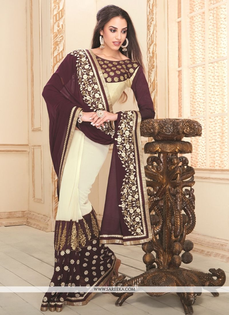 Brown and White Designer Saree