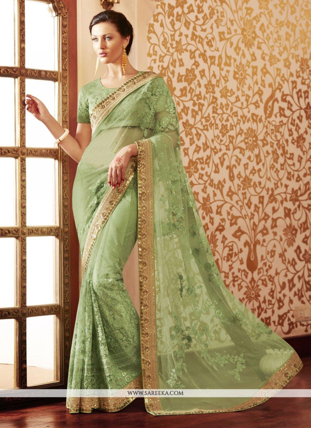 Embroidered Work Green Designer Saree