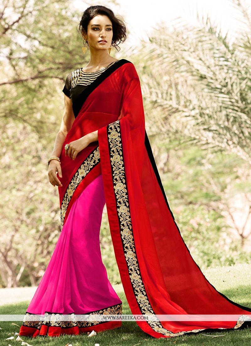Faux Chiffon Hot Pink and Red Half N Half Designer Saree
