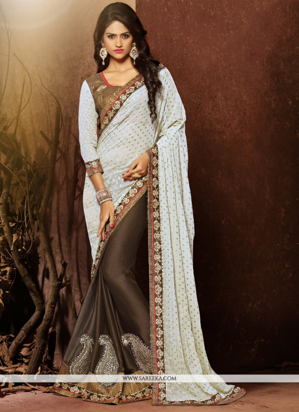 Faux Chiffon Off White Embroidered Work Designer Saree
