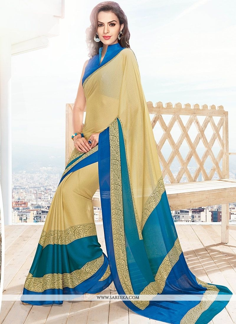 Lace Work Georgette Casual Saree