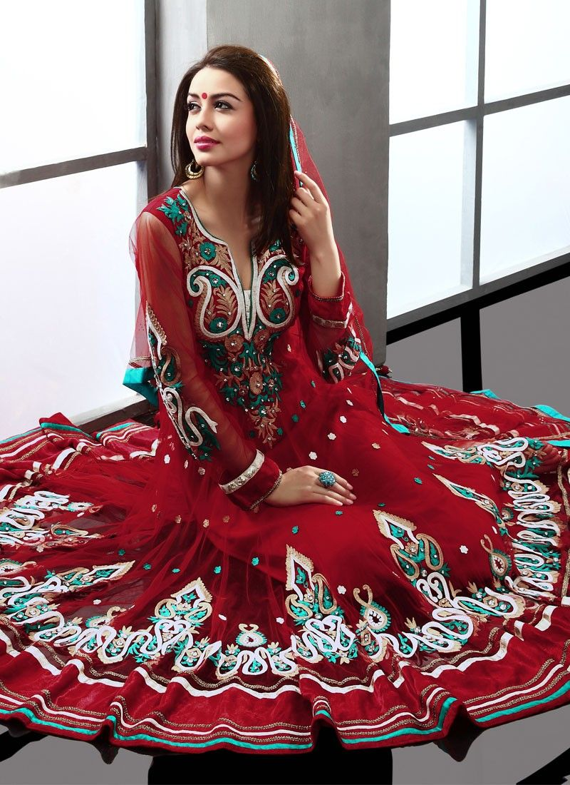 Red Net Anarkali Suit