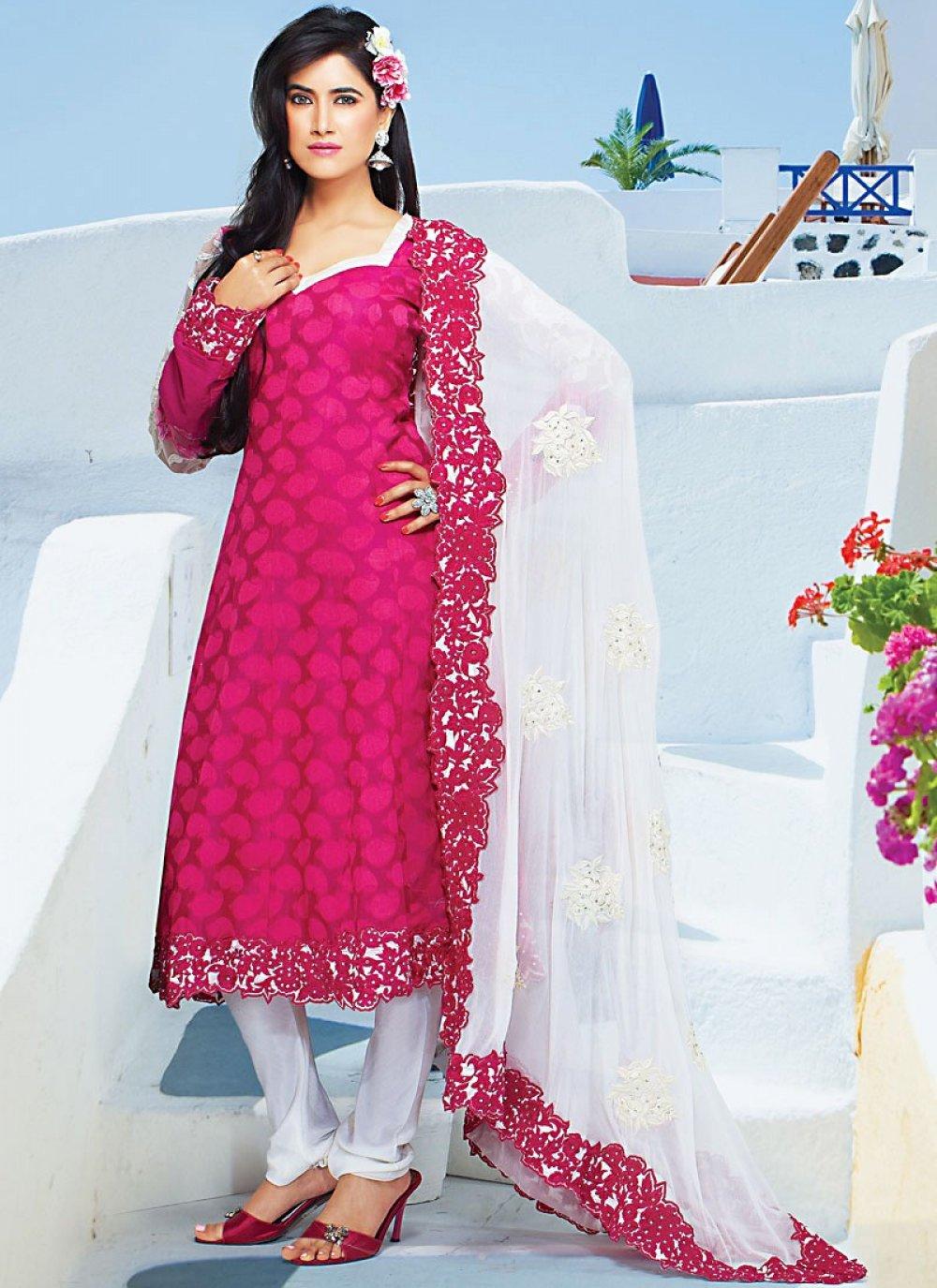 Fuchsia Pink Art Crepe Churidar Suit