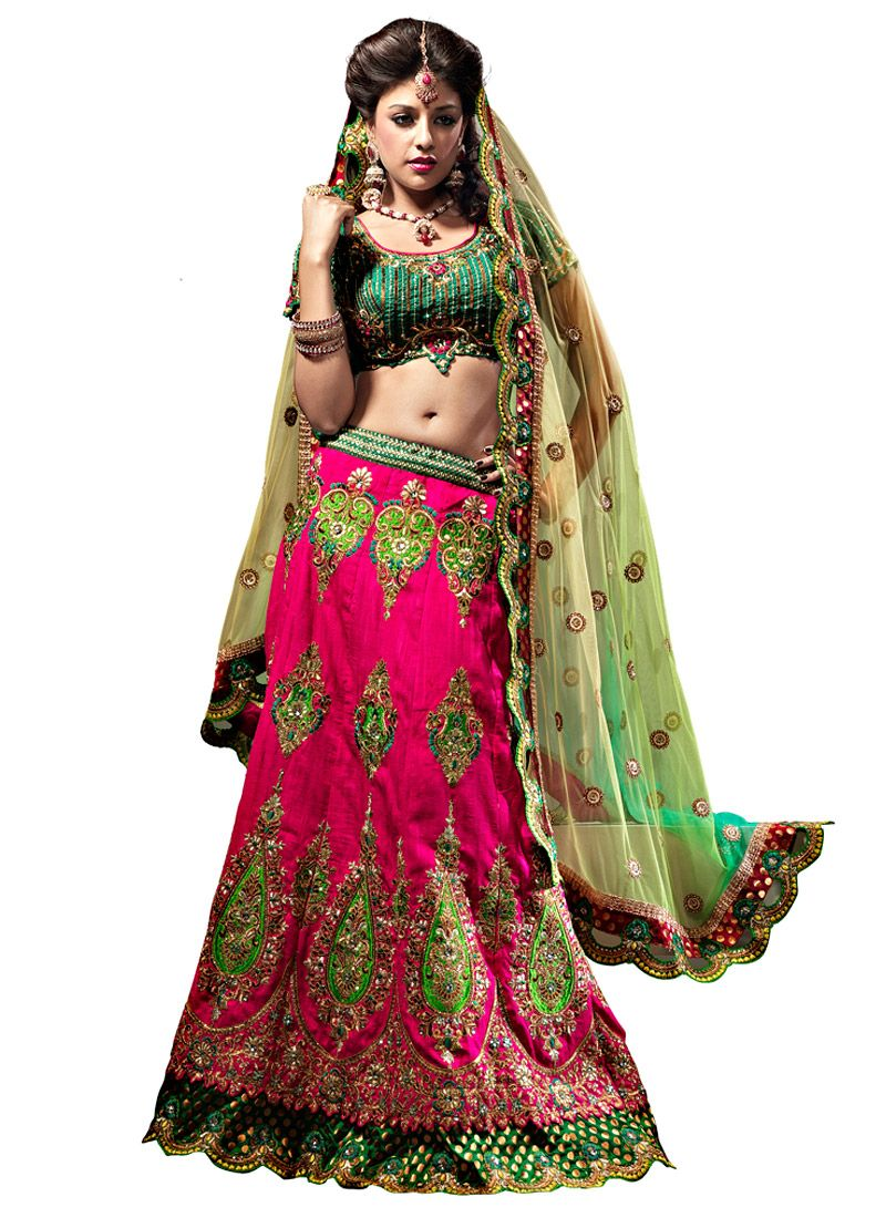 Fuschia and Green Art Raw Silk Flared Lehenga Choli